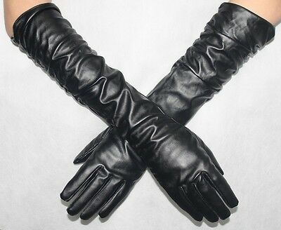 Women Long Pu Leather Glove Ladies Black Driving Opera Evening Gloves Size Large