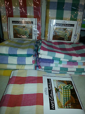 Vintage lot of 15 awning stripe check table cloth linens New & Used All clean