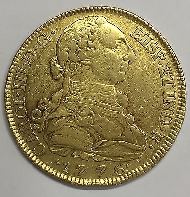 1776 Madrid 8 Escudos Charles Iii Doubloon Spanish Colonial Gold Coin Rare