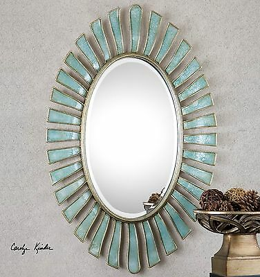 "Large 40"" Ornate Aged Blue Gray Finish Wall Mirror Contemporary Or Vintage"
