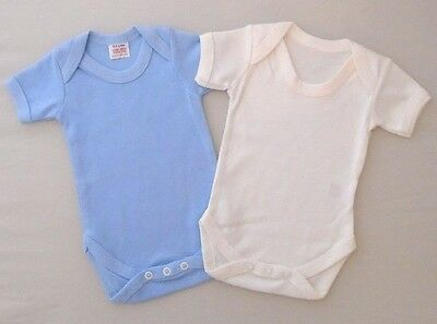 2 Pack 0-3 Baby Boys Vests Cotton Bodysuit New Blue White Popper Fasteners