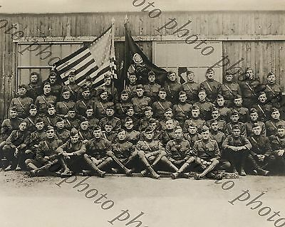 WW1 Photo 1918 US Officers of the 45th C.A.C Group Photo St. Nazaire France B&W