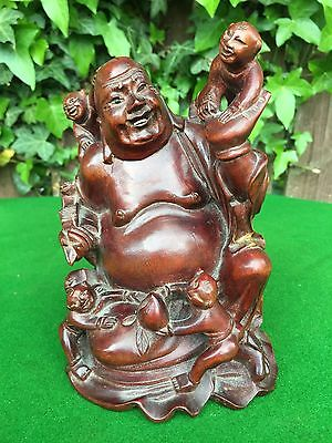 Antique Wooden Chinese Carved Buddha, Bone Teeth, with Children