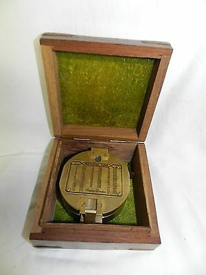 Vintage Stanley  London Brass Compass In Wooden Box