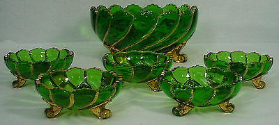 DUNCAN MILLER crystal BEADED SWIRL GREEN pattern 6-piece MASTER FRUIT & 5 indiv.