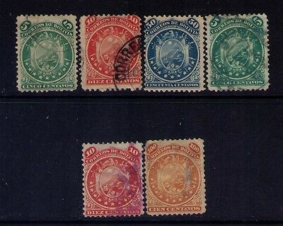 Bolivia Classic Stamps SC# 10-12;15;16;18 Used/MH Cat.$110
