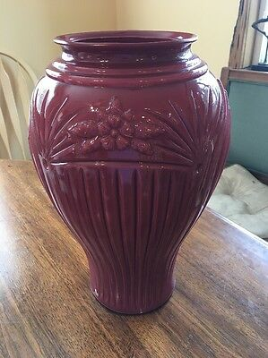 "Large 16"" Art Deco Plum Colored Cased Glass Vase Stunning"