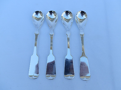 Set of 4 Antique American Coin Silver Spoons Hallmarked M.B. Mid 19th Century