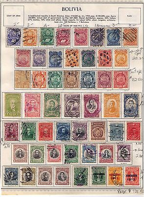 BOLIVIA Stamps 1868-1923,Classic Issue on 2 pages Used/MH Cat.$170 RARE!!!