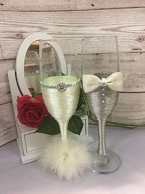MR & MRS Bride And Groom Champagne toasting Flutes Wedding gift Ivory and grey
