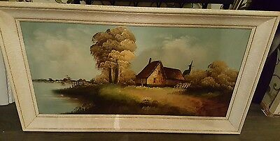 Antique Stunning Large Landscape Framed Signed Oil Painting. Very Collectable