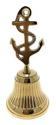 Madison Bay Co Nautical Solid Brass Bell with Ships Anchor Handle 5.5T