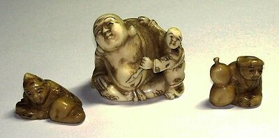 3  ANTIQUE NETSUKE HORN SIGNED MEIJI AND EDO PERIOD figures