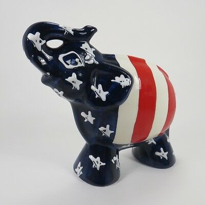 Turov Art Ceramics Elephant Figure Statue Patriotic Republican GOP USA Patriotic