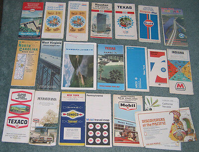 Maps - US highway maps, 21 assorted: states, oil co's, NGs. Earliest from 1960s.