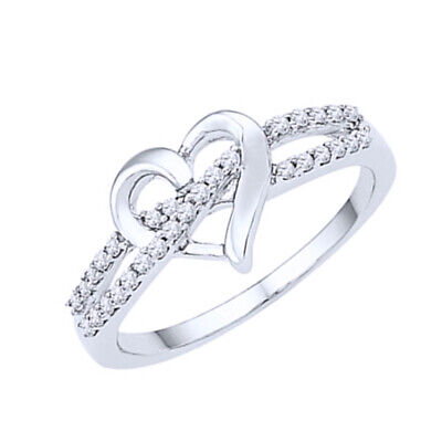 1/6 ct Diamond Heart Promise Ring in Sterling Silver