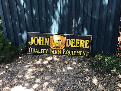 Vintage 1920's John Deere Quality Farm Equipment  Wooden Framed Porcelain Sign