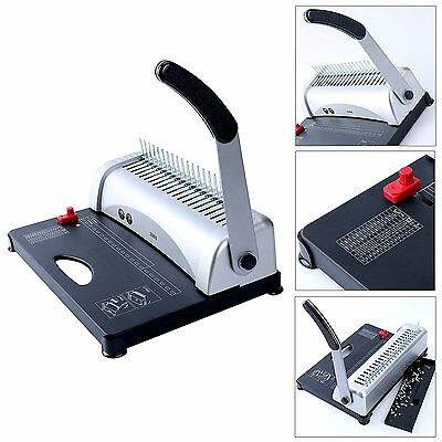 Modern Black 450 Sheets Office Paper Punch Binder Comb Binding Machine 21 Hole