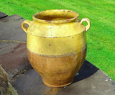 Antique French Confit Pot with Traditional Yellow Glaze