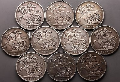1887-1900 Queen Victoria Crowns sterling silver coins [10] total