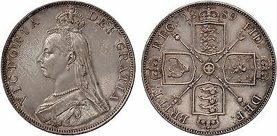 1889  Double Florin  Arabic 1 in date Inverted 1 in Victoria