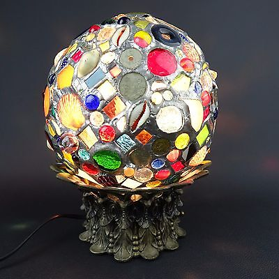 Tramp Folk Art Found Items Memory Stained Glass Hand Made One of a Kind Lamp