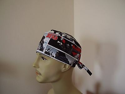 Surgical Scrub Cap/Tieback Hat- The WALKING DEAD -Handmade- One size