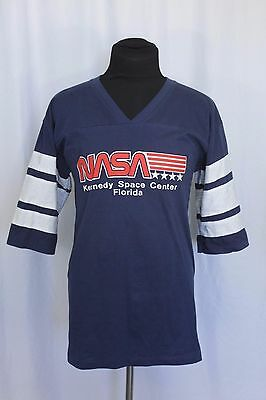 Vtg Original Striped Short Sleeve 1980's 90's NASA Kennedy Space Center T-Shirt