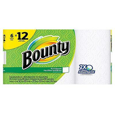 Bounty Paper Towels, White, 6 Double Rolls 12 Regular