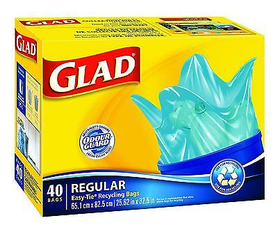 Glad Easy Tie Regular Recycling Blue Bags, 40 ct.