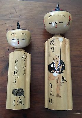 Vintage Antique Japanese Kokeshi Traditional Wooden Asian Doll Bobblehead Lot