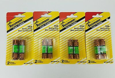 (Lot of 4) Bussmann 30A Heavy Duty Fuses BP FRN-R-30 250vac Cartridge Fuses NEW