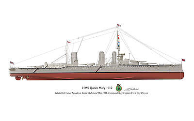 HMS Queen Mary 1912 Vintage Battlecruiser Profile Artwork A4 Glossy Print signed