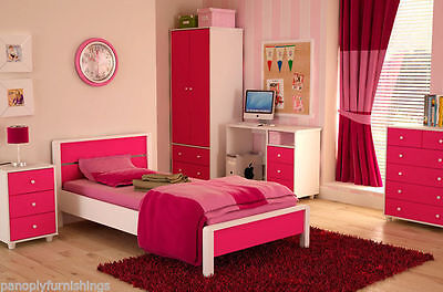 Miami Pink Girls Bedroom Furniture Range - Wardrobe, Bed, Drawers, Bedside, Desk