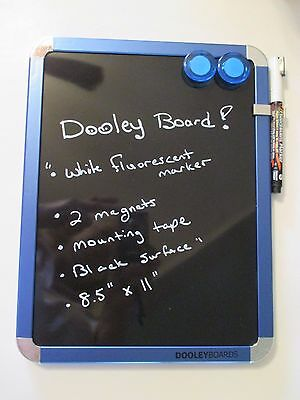 NEW DOOLEY BLACK DRY ERASE BOARD~White Flourescent Marker~Magnets~Mounting Tape