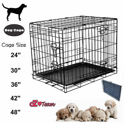 Dog Cage Crate Pet Puppy Folding Metal Cage Carrier Handle Transport