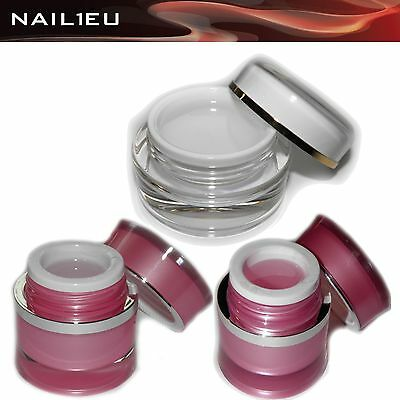 Gel de construction en fibre verre Set transparent+rose NAIL1EU 3x15ml/ UV
