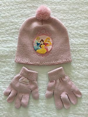 Girls Toddler Disney Princess Beanie And Gloves