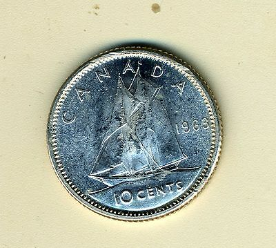 1963 Canadian 10 Cent Silver Coin, Dime, BU
