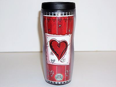 2002 STARBUCKS COFFEE 16oz RED SWEETHEART BARISTA TRAVEL TUMBLER/CUP/MUG