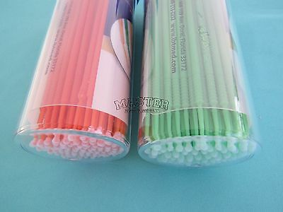 200 Dental Micro Applicator Brush LARGE REGULAR Bendable Dispenser GREEN ORANGE