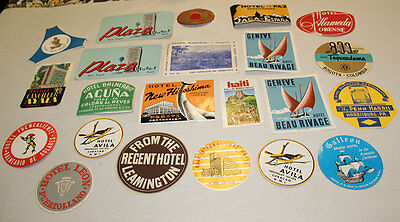 Nice VINTAGE Lot Of 22 Luggage Labels Hotels ~ NEW HIROSHIMA & MORE!
