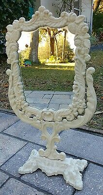 Antique Stamped Iron Art Standing Vanity Mirror By JM Victorian Style Vintage