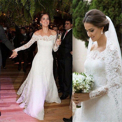 New  White/Ivory Long Sleeve Wedding Dress Bridal Ball Gown Custom Size 2-28