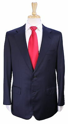 * BRIONI * Very Recent Solid Navy Blue 2-Btn Handmade Super 150's Wool Suit 40R
