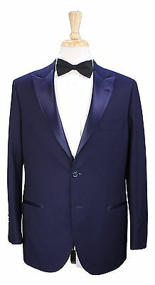 * BRUNELLO CUCINELLI * Recent Solid Navy Blue Peak Lapel Slim 2B Tuxedo Suit 40R