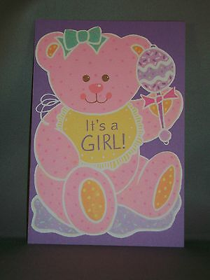 Vintage Baby Birth Announcement Cards w/Envelopes-Girl Teddy Bear-Set of 8-NEW