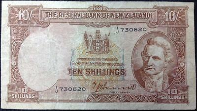 New Zealand Reserve Bank Of New Zealand T.P. Hanna 10 Shillings Note