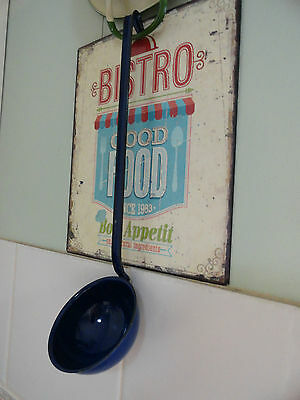 Retro Vintage Ladle Blue Enamel Black Trimming Soups Never Used Made In Usa