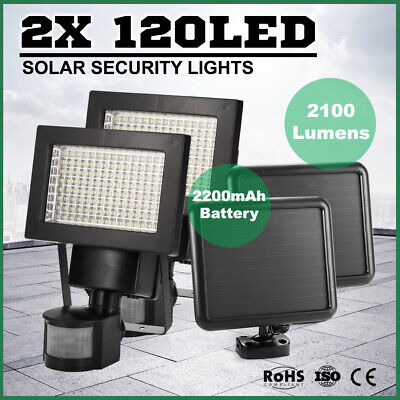 Pair 120 LED Solar Sensor Light Security Motion Detection Garden Flood Lights